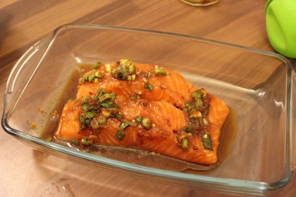 Gluten-free ginger and soy marinated salmon fillets