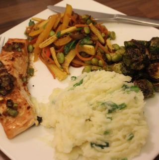 Gluten-free Asian ginger and soy salmon with sesame mashed potatoes, honey brussel sprouts and stir-fry vegetables