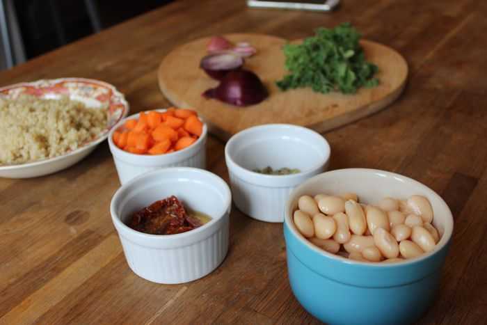 ingredients for sundried tomato butter bean quinoa salad