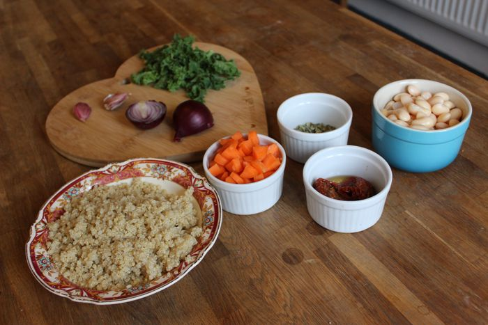 ingrdients for sundried tomato butter bean quinoa salad