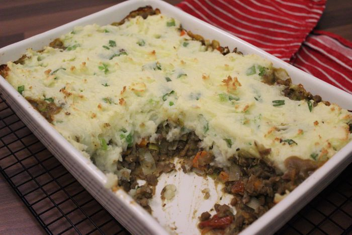 gluten free lentil shepherds pie